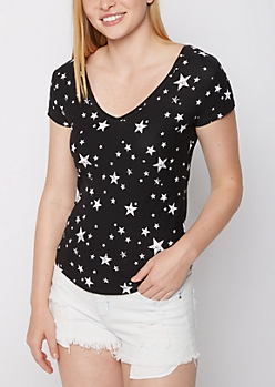 Starry Soft Brushed V Neck Tee