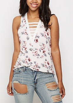 White Floral Caged V Neck Tank Top