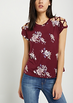 Burgundy Floral Lattice Sleeve Tee