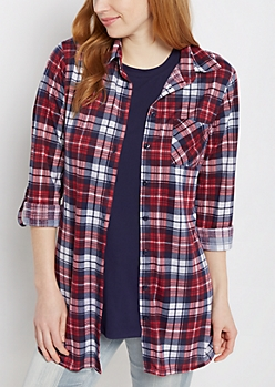 Red Plaid Soft Knit Button Down