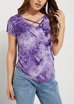Purple Crystal Tie Dye Cross Strap Tee