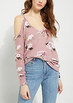 Pink Floral Hacci Knit Cold Shoulder Top
