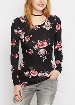 Black Rose Print Long Sleeve Shirt