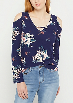 Navy Floral Cold Shoulder Soft Brushed Shirt