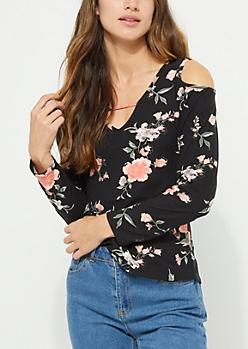 Black Floral Cold Shoulder Cross Strap Top