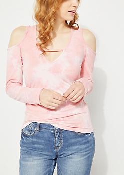 Pink Tie Dye Cold Shoulder Lattice Top