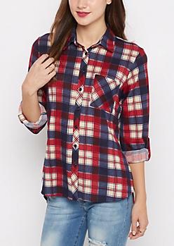 Americana Plaid Soft Flannel Shirt