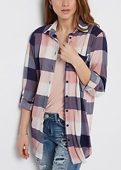 Pink & Navy Buffalo Plaid Shirt