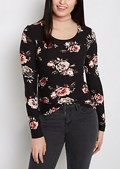 Black Rose Soft Brushed Long Sleeve Tee