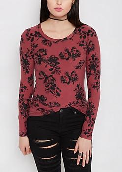 Burgundy Sketched Rose Brushed Long Sleeve Tee