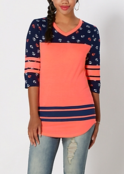 Anchor Blocked Varsity Striped Tee