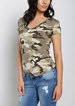 Camo Soft Brushed V Neck Tee