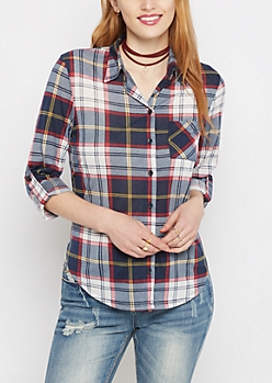 Navy Tartan Plaid Essential Flannel Shirt