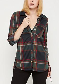 Forest Green Plaid Button Down Shirt