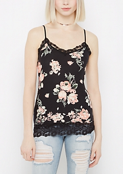 Black Floral Lace Trimmed Cami
