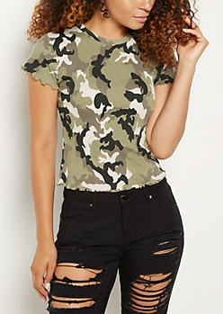 Camo Print Lettuce Trimmed Tee