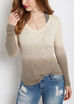 Grey Dip Dye V-Neck Top