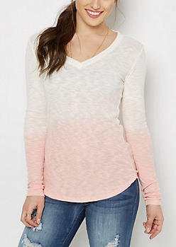 Ivory Dip Dye V-Neck Top