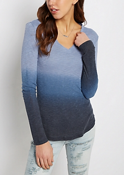 Blue Dip Dye V-Neck Top