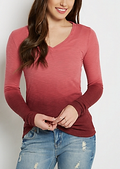 Pink Dip Dye V-Neck Top