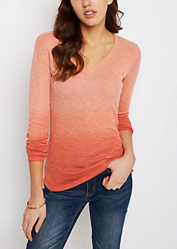 Coral Dip Dye V-Neck Top
