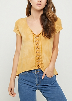 Mustard Tie Dye Lace Up Front Tee
