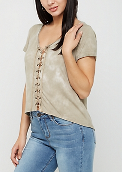 Taupe Lace Up Tie Dye Tee