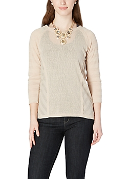 Tan High-Low Perforated Top