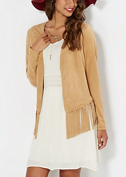Brown Faux Suede Fringed Cardigan