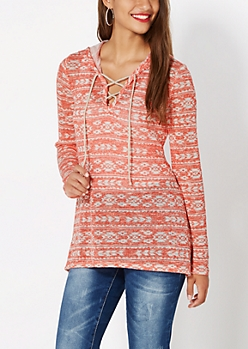 Coral Lace-Up Aztec Hoodie