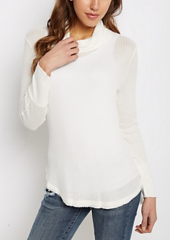 Ivory Cowl Neck Shirttail Waffle Top