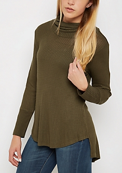 Olive Cowl Neck Shirttail Waffle Top