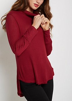Burnt Orange Cowl Neck Shirttail Waffle Top