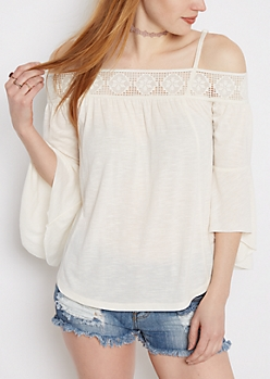 Ivory Crochet Off-Shoulder Bell Sleeve Top