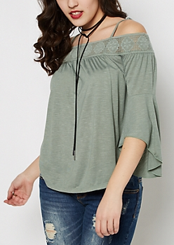 Light Green Crochet Off-Shoulder Bell Sleeve Top