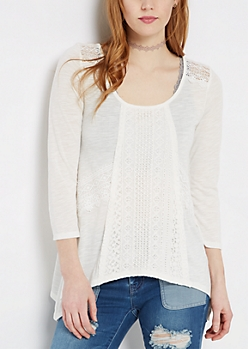 Geo Crochet Lattice Back Top