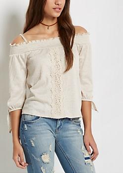 Traveling Crochet Off-Shoulder Shirt
