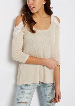 Cream Marled Crochet Cold Shoulder Top