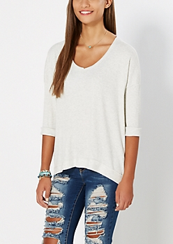 White Inside-Out Thermal Knit Top