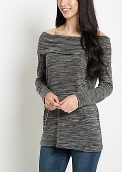 Black Space Dye Off-Shoulder Shirt