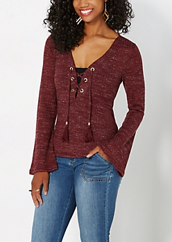 Burgundy Lace-Up Top