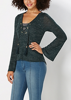 Teal Lace-Up Top