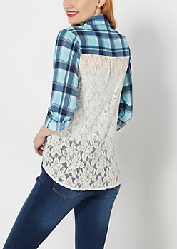 Turquoise Plaid Lace Back Inset Shirt