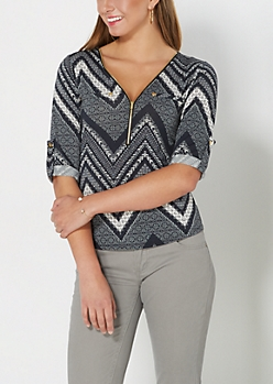 Geo Chevron Zip Yoke Top