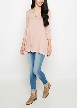 Soft Pink Caged Swing Tunic Tee