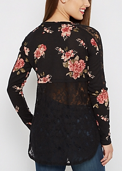 Black Rose Crochet Back Knit Top