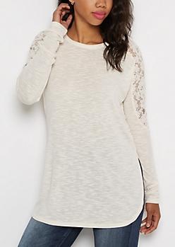 Ivory Crochet Back Knit Top