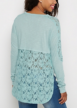 Turquoise Crochet Back Knit Top