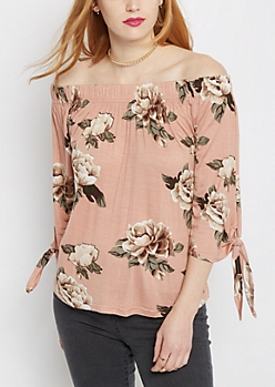 Pink Rose Knotted Tie Arm Off Shoulder Top