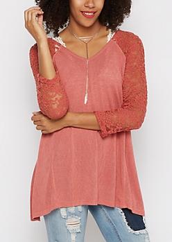 Burnt Orange Lace Sleeve Sharkbite Shirt